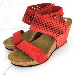A Giannetti red suede perforated wedge sandals 7